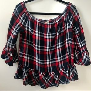 ASOS Classic Plaid Blouse with Ruffles - L